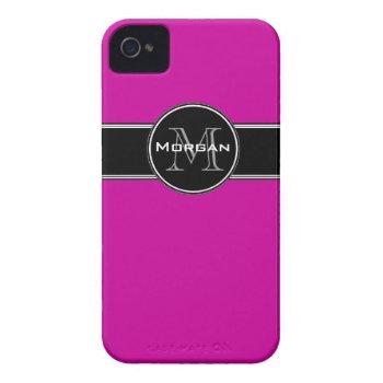 Fuchsia Black Personalized Iphone 4