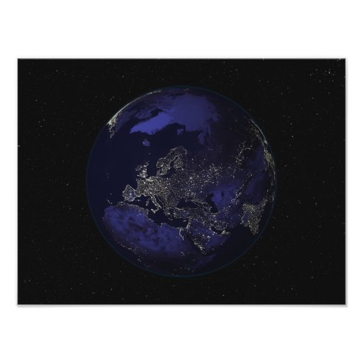Full Earth at night showing city lights 3 Poster | Zazzle