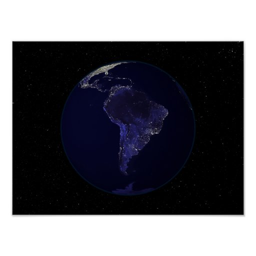 Full Earth at night showing city lights 6 Poster | Zazzle
