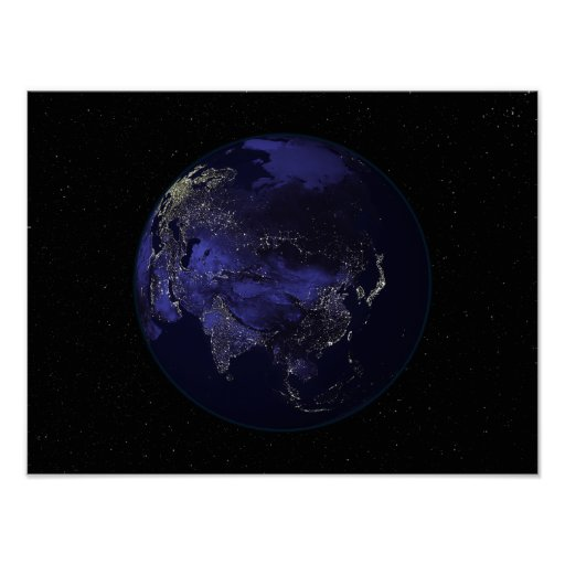 Full Earth at night showing city lights Poster | Zazzle