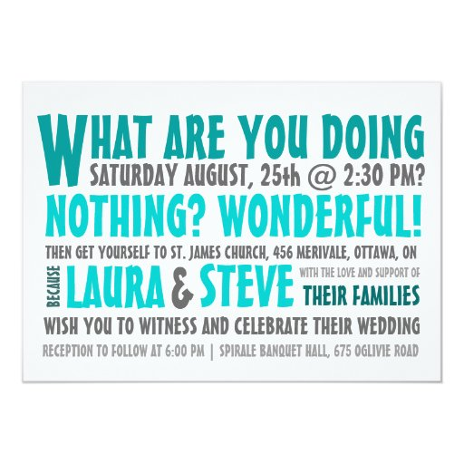 Funny Wedding Reception Invitations: Fun And Modern Wedding Invitation - Any Color