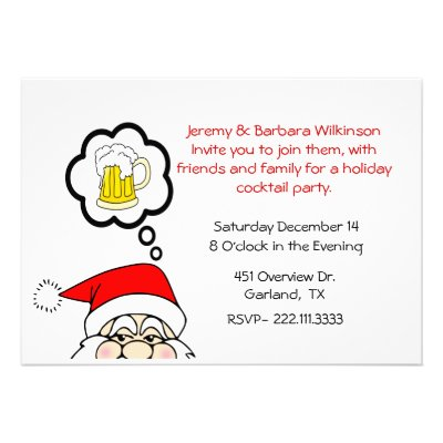A Funny Whimsical Holiday Cocktail Party Invitation Featuring Santa Dreaming Of Frosty Mug