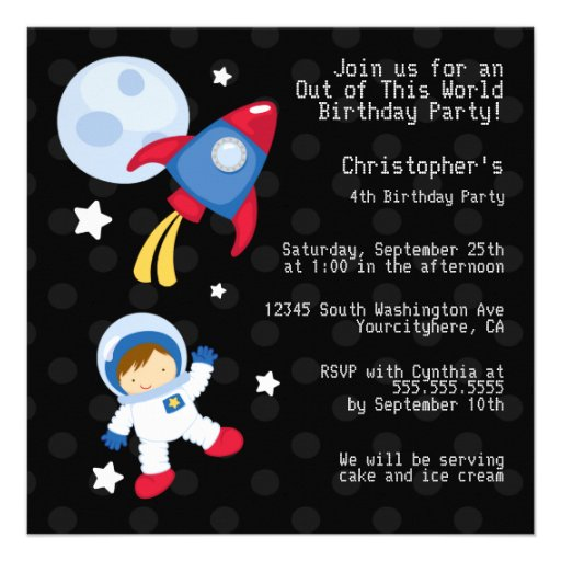 Fun outerspace astronaut birthday party invitation 5.25 ...