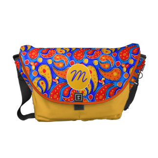 Fun Paisley Orange Red Yellow on Bright Royal Blue Messenger Bag
