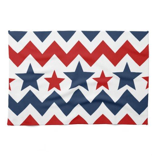 Black And White Chevron Hand Towels: Fun Red White Blue Chevron Stars And Stripes Kitchen Towel