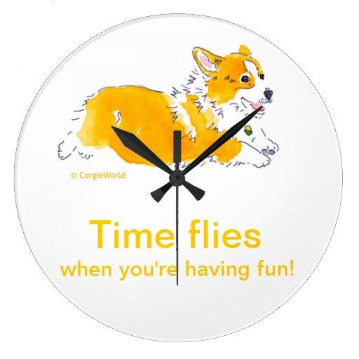 Fun Time Flies Corgi Clock Zazzle