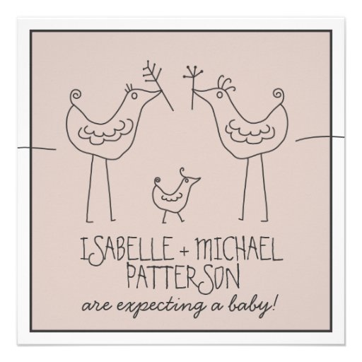 Family Baby Shower Invitations: Funky Birds Modern Family Couple Baby Shower 5.25x5.25
