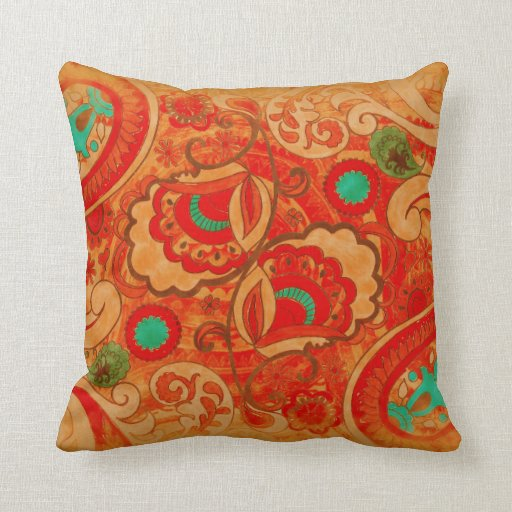 Funky Burnt Orange Red Turquoise Vintage Paisley Pillow
