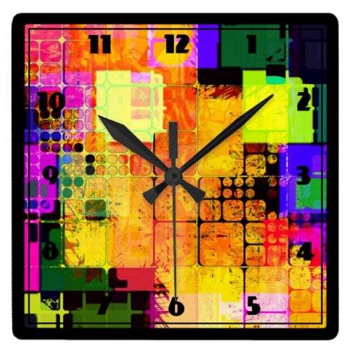 Funky Geometric Multicolored Design Square Wallclock