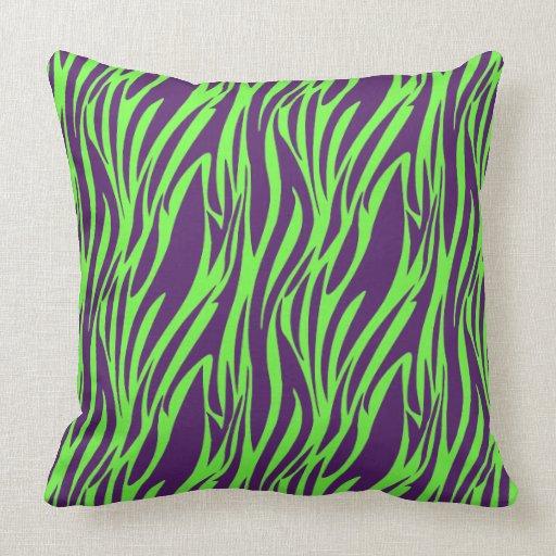 funky purple neon green zebra print pillow zazzle. Black Bedroom Furniture Sets. Home Design Ideas