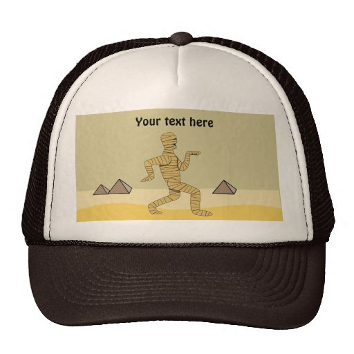 Funny Pictures About Egypt: Funny Cartoon Egyptian Mummy Pyramids Custom Trucker Hat