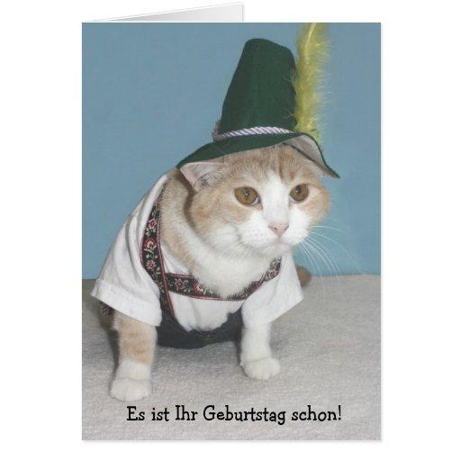 funny cat german birthday greeting card  zazzle