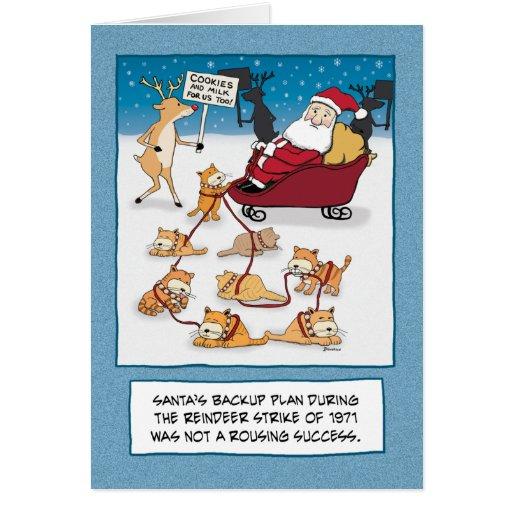 Funny Christmas Card: Sleigh Cats
