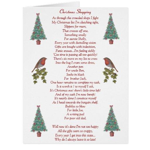 Poem About A Christmas Tree: Funny Christmas Poem Robin And Xmas Tree Big Card