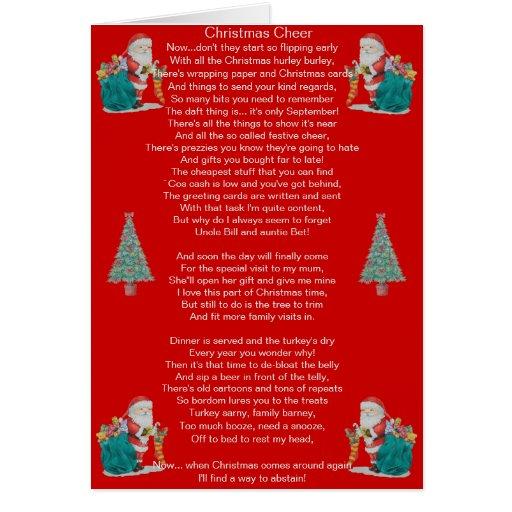 Poem About A Christmas Tree: Funny Christmas Poem Santa And Xmas Tree Art Card