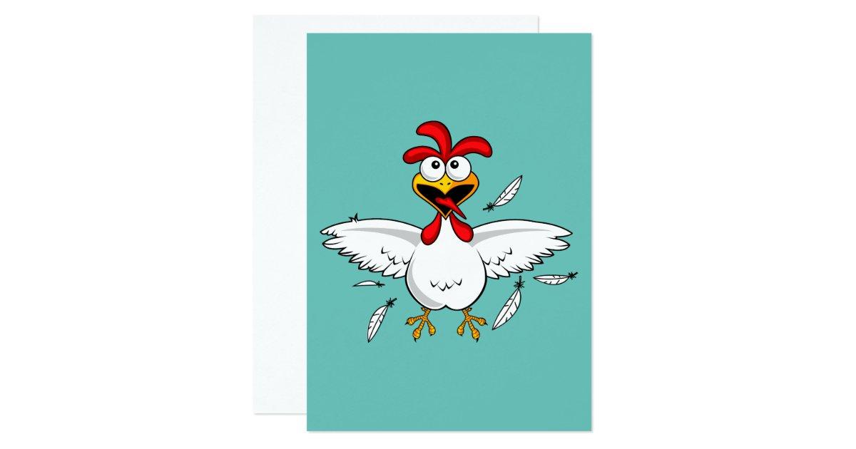 Funny Chicken Cartoons: Funny Crazy Cartoon Chicken Wing Fling Card
