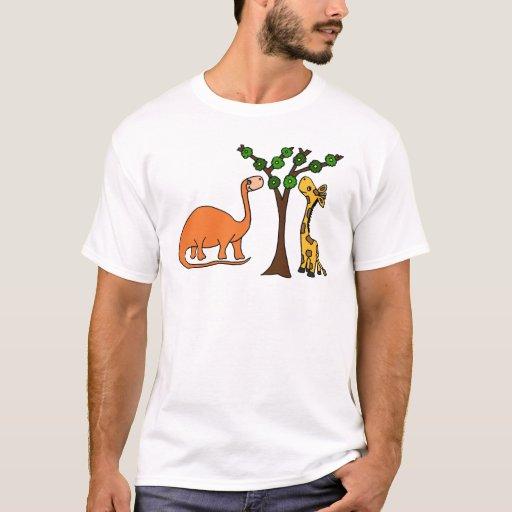 Funny Dinosaur And Giraffe Cartoon T Shirt Zazzle