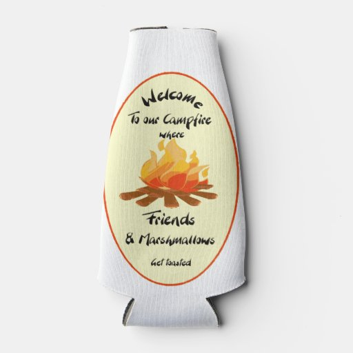 Funny Friend Marshmallow Camping Quote Bottle Cooler Zazzle