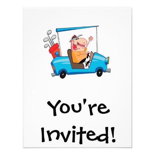 Funny Golfer In Golf Cart 4.25x5.5 Paper Invitation Card