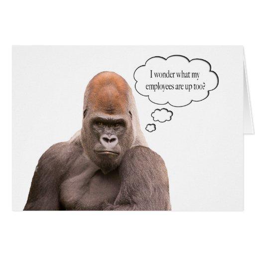 Funny Gorilla Happy Birthday Boss Card Greeting Card