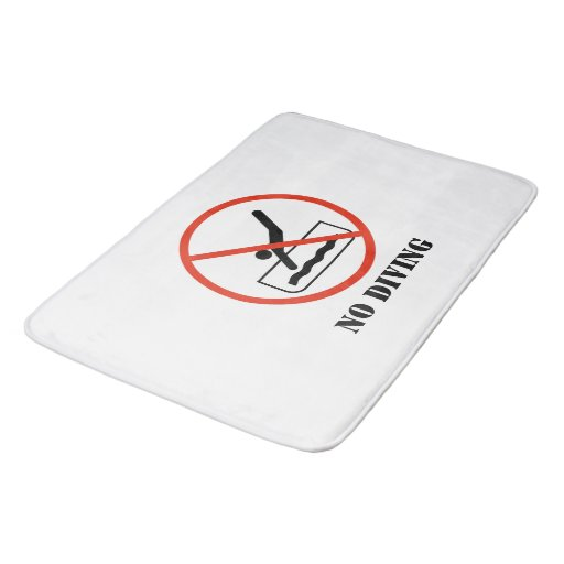 Funny Home Decor White No Diving Bathroom Mat Zazzle