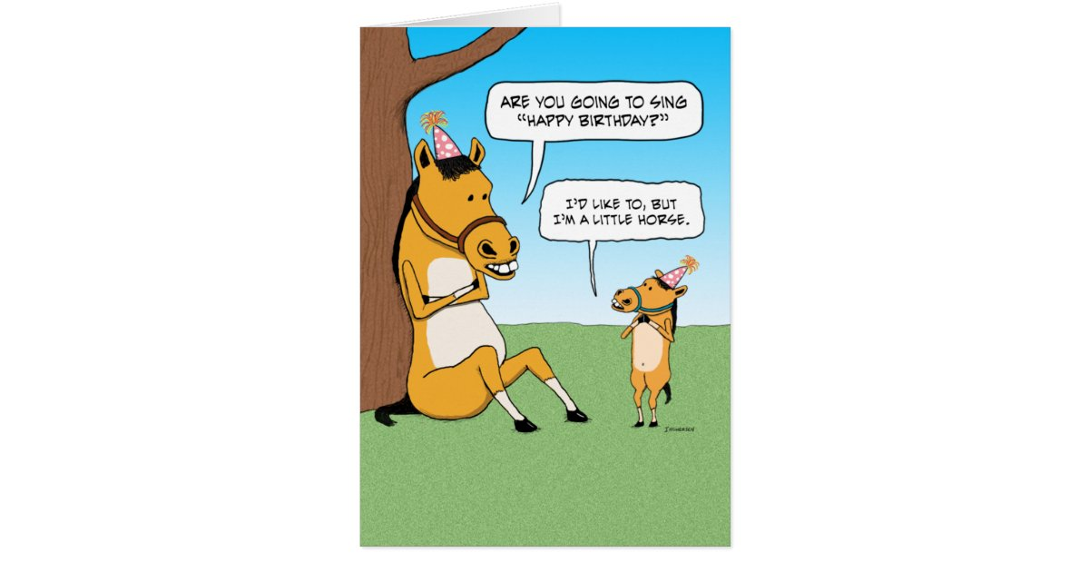 Funny Little Horse Birthday Card Zazzle