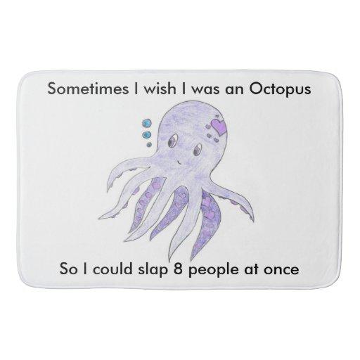 Funny Octopus In The Bathroom Bathroom Mat Zazzle