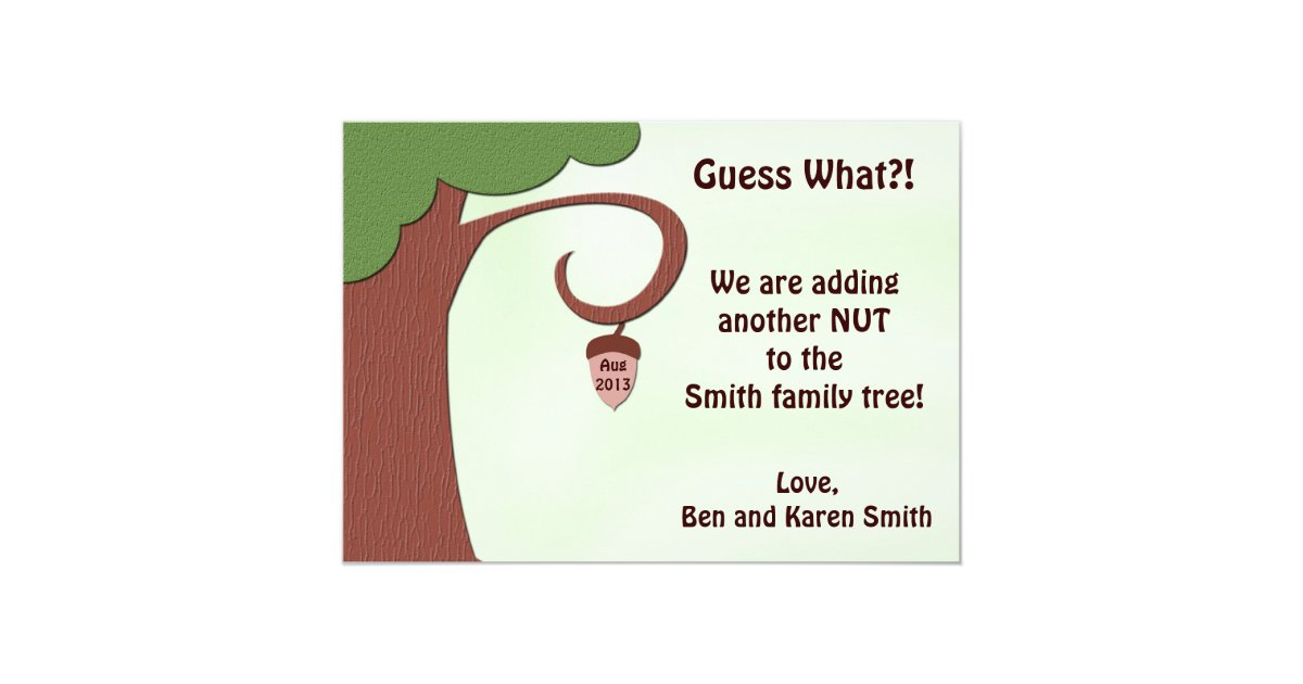 Pregnancy Announcement Card: Funny Pregnancy Announcement Card - Nut To Tree