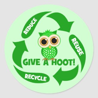 funny reduce reuse recycle round sticker