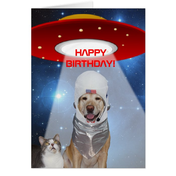Funny Space Theme Dog Cat Birthday Greeting Cards