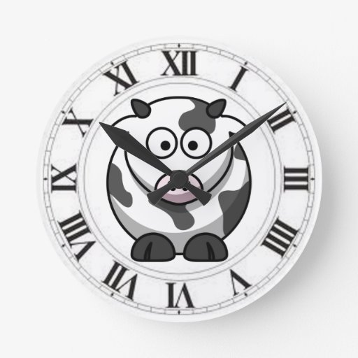 Funny Spotted Cow Black White Roman Numerals Round Clock