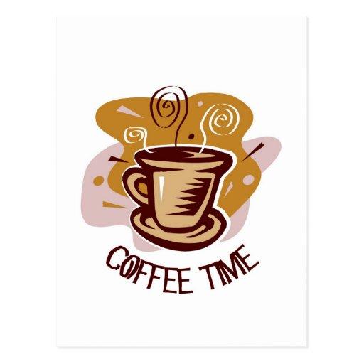 "Funny steaming hot mug saying ""Coffee Time""! Postcard | Zazzle"