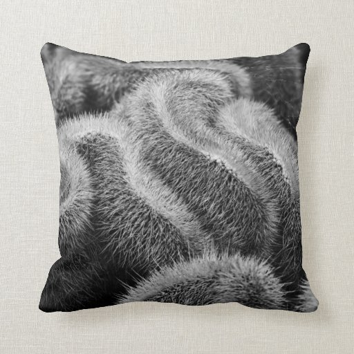 fuzzy black and white throw pillow zazzle. Black Bedroom Furniture Sets. Home Design Ideas