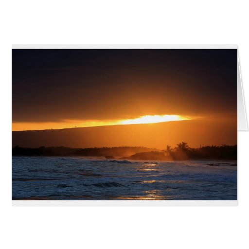 Island Beach Sunset: Galapagos Paradise Island Sunset Beach Card