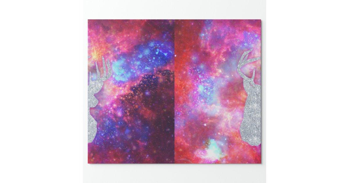 Galaxy Nebula Glitter Deer Head Pink Space Wrapping Paper | Zazzle