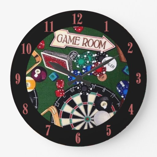 Game Room Darts Billiards Cards Wall Clock Zazzle