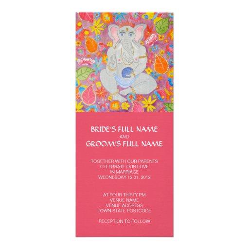 "Ganesh Wedding Invitations: Ganesh Wedding Invitation Pink 4"" X 9.25"" Invitation Card"