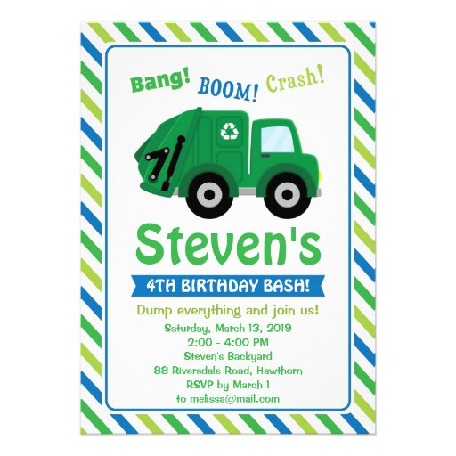 Personalized Garbage Truck Invitations