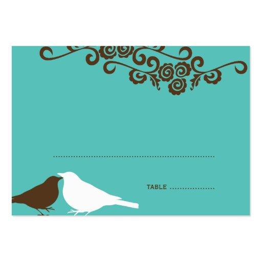 Garden Love Birds Teal Wedding Place Card Business Template