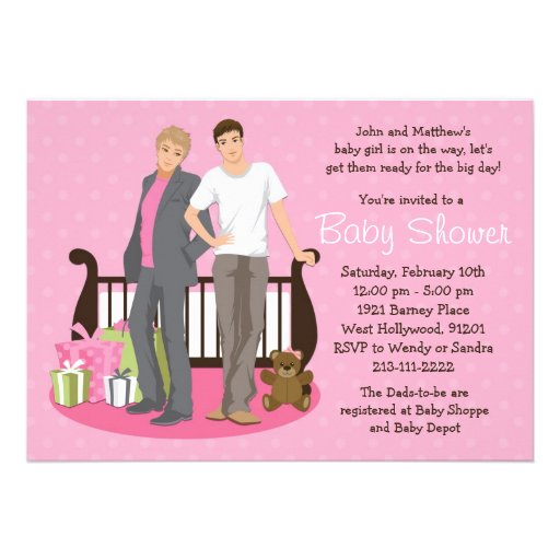 """Gay Dads Baby Shower Invitation For Girl 5"""" X 7"""