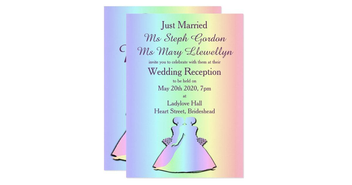 Lgbt Wedding Invitations: Gay Pride Lesbian Wedding Reception Invitation