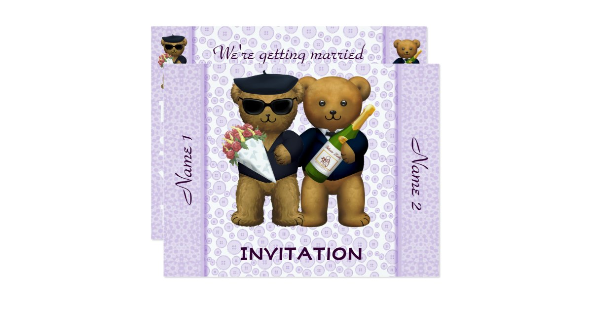 Gay Wedding Invite: Gay Wedding - Invitation - Teddy Bears Lilac