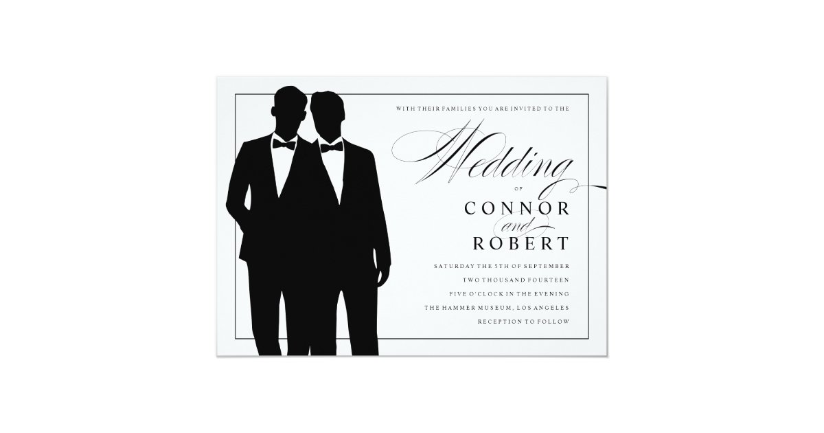 Gay Marriage Wedding Invitations: Gay Wedding Invitation Two Grooms Silhouettes