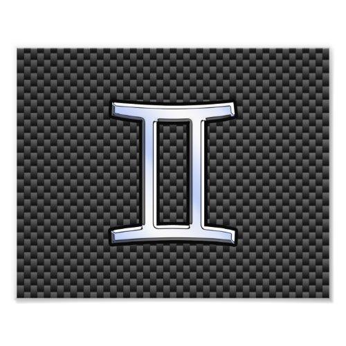 Gemini Zodiac Sign on Charcoal Carbon Fiber Print
