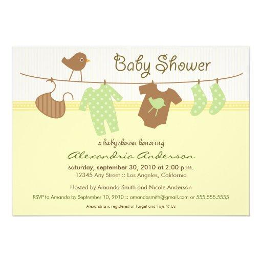 """Gender Neutral Clothesline Baby Shower Invitation 5"""" X 7"""