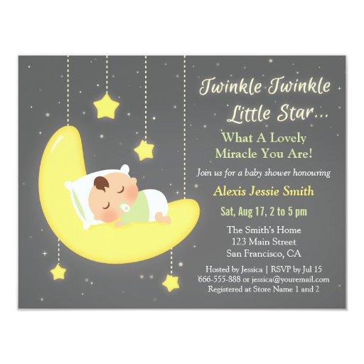 Gender Neutral Twinkle Little Star Baby Shower Card Zazzle