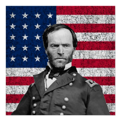 General Sherman And The American Flag Poster Zazzle