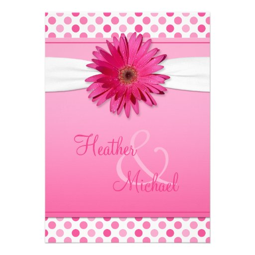 Hot Pink Gerbera Daisy White Wedding Invitation 5 X 7: Gerbera Daisy Pink Polka Dot Wedding Invitation