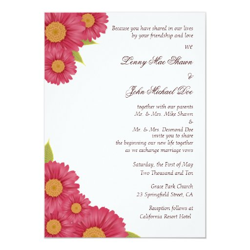 Gerbera Wedding Invitations: Gerbera Daisy Wedding Invitation
