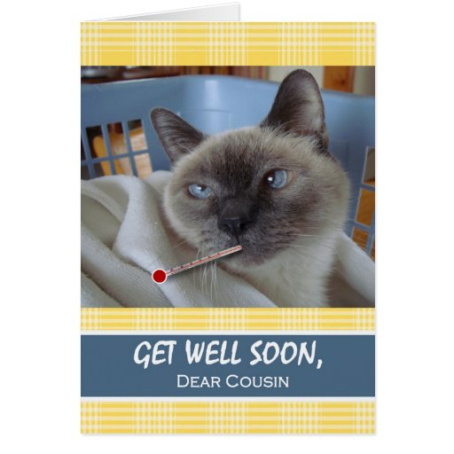 Get Well Soon for Cousin, Cat in Basket Card | Zazzle